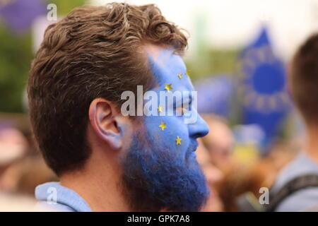 London, UK  3rd September 2016  Protester with facepaint Protesting at the September 2016 'March for Europe'  Credit: - Stock Photo
