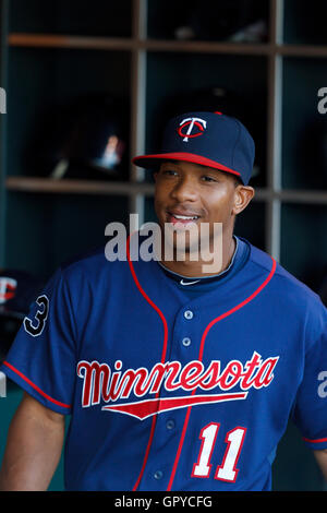 June 21, 2011; San Francisco, CA, USA;  Minnesota Twins left fielder Ben Revere (11) stands in the dugout before - Stock Photo