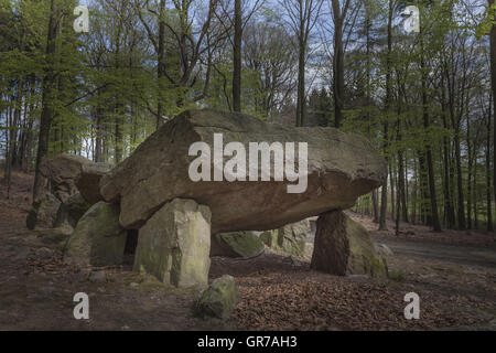 Neolithic Passage Grave, Megalithic Stones In Osnabrueck-Haste, Osnabrueck Country, Germany - Stock Photo