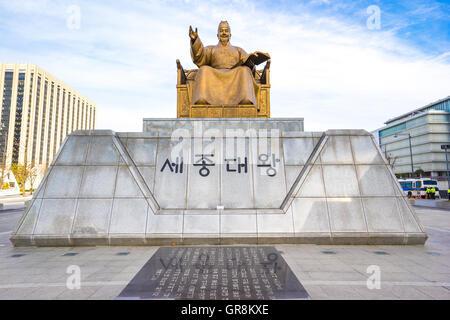 Statue of Sejong the Great King at Gwanghwamun Plaza in Seoul, South Korea. - Stock Photo