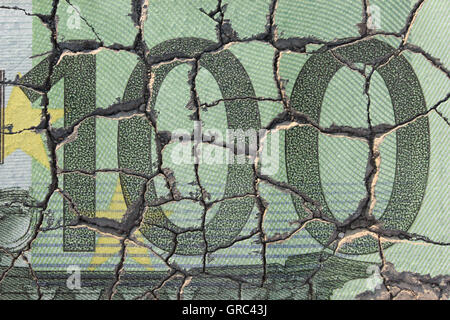Euro Bill On Eroding Ground - Stock Photo