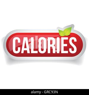 Calories button vector red - Stock Photo