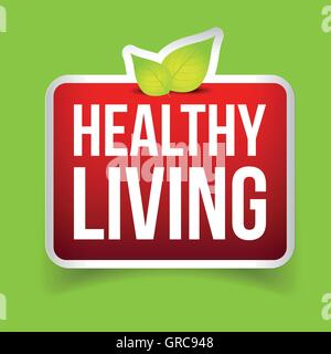 Healthy Living button vector red - Stock Photo