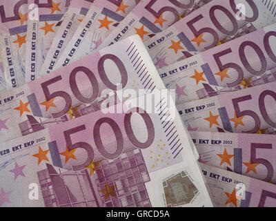 Much Money, A Lot Of 500 Euro Banknotes - Stock Photo