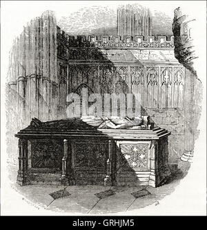 Tomb of King John in Worcester Cathedral. Victorian woodcut engraving circa 1845. - Stock Photo