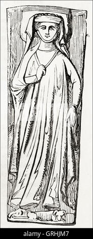 Effigy of Lady Harcourt in Worcester Cathedral. Victorian woodcut engraving circa 1845. - Stock Photo