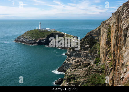 The distinctive and popular South Stack Lighthouse, Anglesey, Wales, UK - Stock Photo