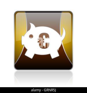 piggy bank golden square web glossy icon - Stock Photo