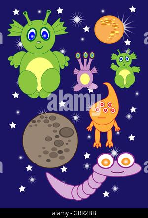 Cartoon cute monsters space of astronauts. aliens. rocket. planets. comets. Vector - Stock Photo