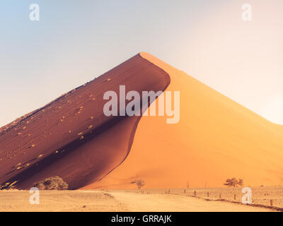 Dune 45 in the Sossusvlei area of the Namib Desert in Namibia. - Stock Photo