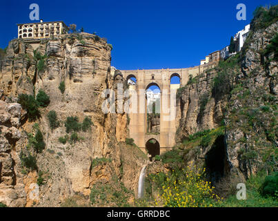 Puente Nuevo and El Tajo Gorge, Ronda, Andalucia, Spain - Stock Photo
