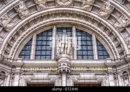 Front entrance of the Vicotria and Albert Museum in South Kensington London, UK - Stock Photo
