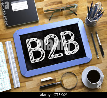 B2B Concept on Small Chalkboard. 3D Rendering. - Stock Photo