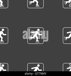roller skating sign. Seamless pattern on a gray background. Vector - Stock Photo