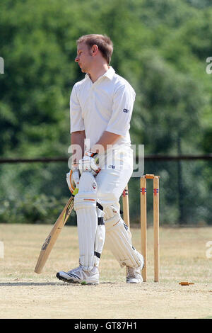 D Keylock of Havering shows his frustration after being bowled out - Havering-atte-Bower CC 3rd XI vs South Woodham - Stock Photo