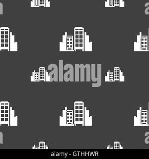 Buildings icon sign. Seamless pattern on a gray background. Vector - Stock Photo