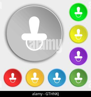 baby pacifier icon sign. Symbol on eight flat buttons. Vector - Stock Photo