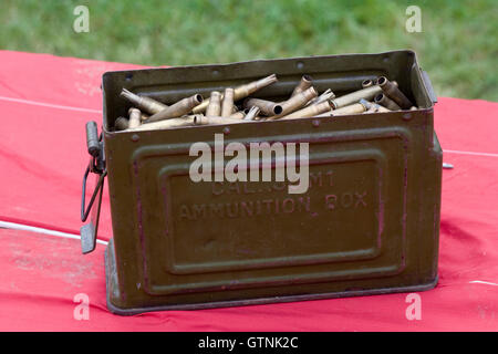 Vintage WWII Reeves Metal Ammunition Box/ Ammo Can, Cal 30 M1 Military Army Bullets - Stock Photo