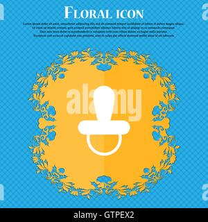 baby pacifier icon icon. Floral flat design on a blue abstract background with place for your text. Vector - Stock Photo