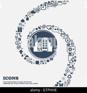 Buildings icon in the center. Around the many beautiful symbols twisted in a spiral. You can use each separately - Stock Photo