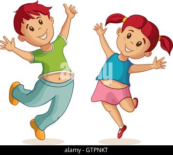Little happy boy and girl jumping. Vector illustration. Friendship - Stock Photo