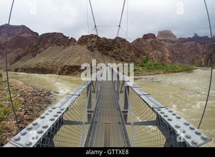 Grand Canyon National Park USA silver bridge over Coloradoo river - Stock Photo