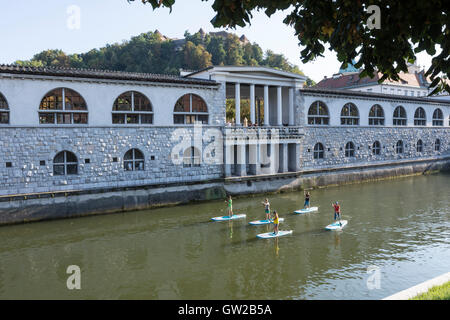 A view of the building along the Ljubljanica river in Ljubljana - Stock Photo