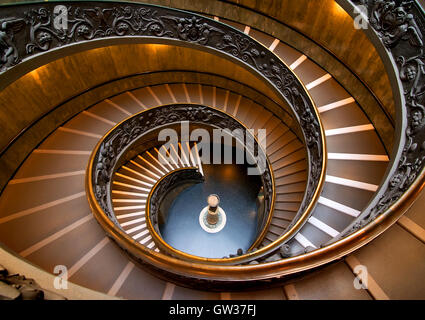 Round staircase in Vatican museum, view from above. Vatican on August 19, 2016 in Rome, Italy - Stock Photo