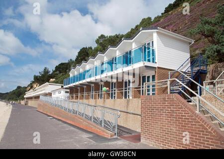 Quality beach huts at Branksome Beach, Poole, Dorset - Stock Photo