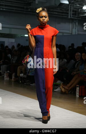 London,England,UK, 10th September 2016:  Models wearing Designer Lady Biba latest collection at the Africa Fashion - Stock Photo
