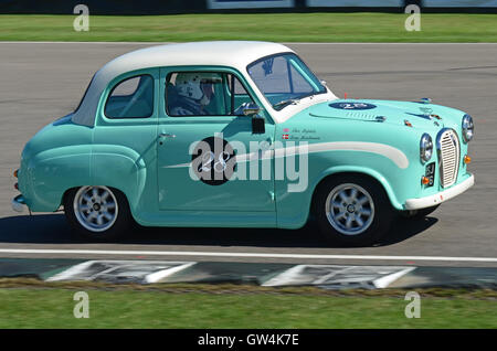 Theo Paphitis racing his Austin A35 Goodwood Revival - Stock Photo