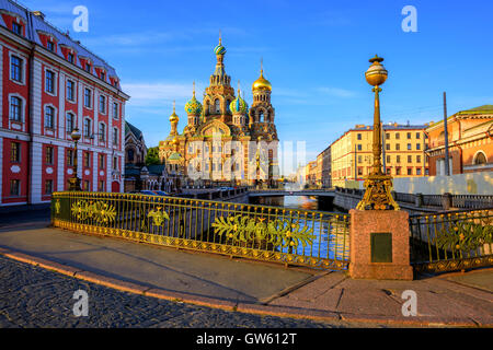 The Church of the Savior on Spilled Blood on Griboyedov canal in the early morning light, St. Petersburg, Russia. - Stock Photo