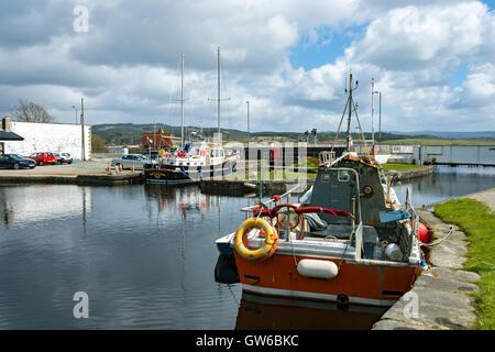 Boats moored in the Ardrishaig Basin on the Crinan Canal at Ardrishaig, Argyll and Bute, Scotland, UK - Stock Photo