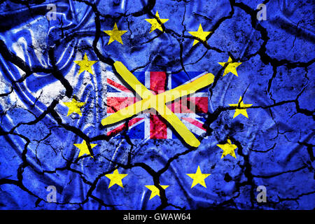 European flag with tears and crossed out Great Britain flag, symbolic photo Europe after the Brexit vote, Europa - Stock Photo