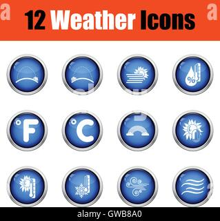 Set of weather icons. Flat design tennis icon set in ui colors. Vector illustration Glossy button design. Vector - Stock Photo