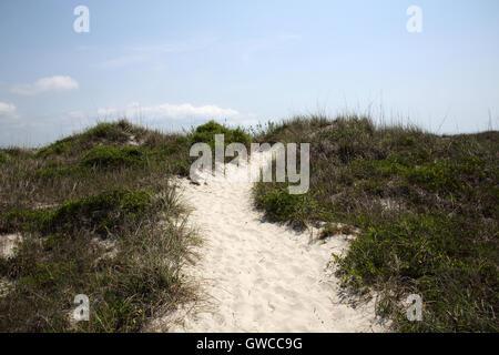 Pathway over sand dunes - Stock Photo