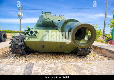 PLAYA GIRON, CUBA - SEPTEMBER 9, 2015: Tank in the Museum shows the curious story of the world famous landing of - Stock Photo