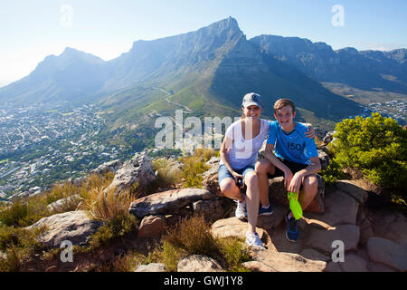 Mom and son on Lions Head, Table Mountain - Stock Photo