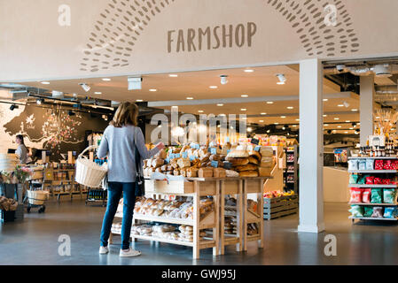 Farm shop at motorway service station, on the M5 northbound junction 12 to 11a, UK. - Stock Photo