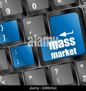 Marketing concept: computer keyboard with word Mass Market - Stock Photo