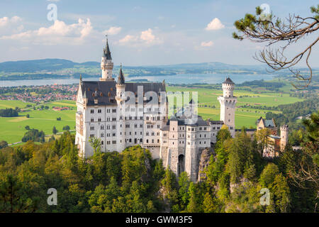Neuschwanstein Castle in Hohenschwangau, Germany - Stock Photo