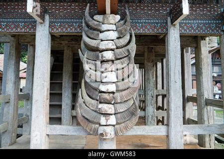 Tongkonan houses, traditional Torajan buildings and house decorated with buffalo horn located at Ke'Te Kesu - Stock Photo