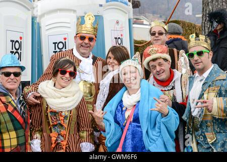Tesserete, Switzerland - 13 February 2016: people posing at the carnival of Tesserete on the italian part of Switzerland - Stock Photo