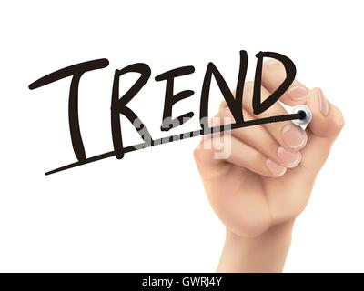 Trend written by hand, 3D illustration realistic hand writing on transparent board - Stock Photo