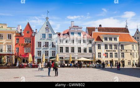 Tallinn, Estonia - May 2, 2016: Tourists walking on Town Hall square in central old Tallinn - Stock Photo