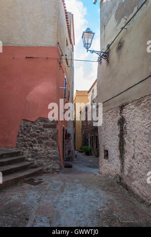 the beautiful alley of castelsardo old city - sardinia - italy - Stock Photo