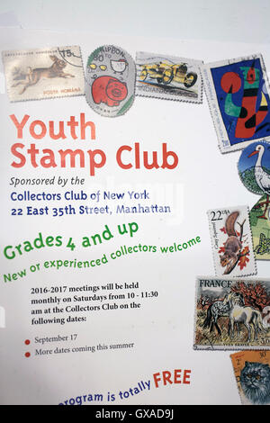 Poster at World Stamp Show-NY 2016 international celebration of stamp collecting in the NYC Javits Convention Center - Stock Photo