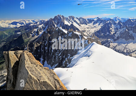 French Alps, view from Aiguille du Midi, Europe - Stock Photo