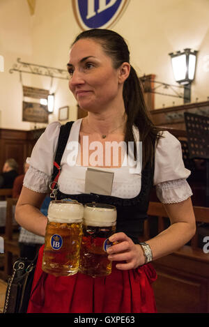 A waitress with two half size beer mass at the famous Hofbräuhaus beer hall at Am Platzl in the old quarter of Munich - Stock Photo
