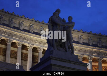 a statue of The National Monument to Vittorio Emanuele II, Rome, Roma, Italy, travel - Stock Photo